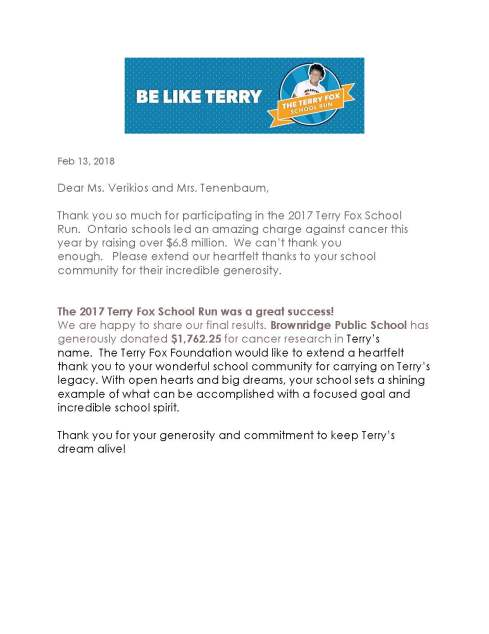 Terry Fox Thank you letter