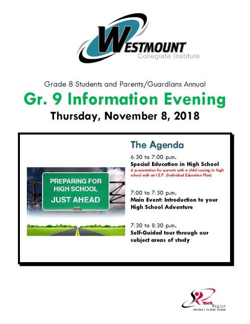 WESTMOUNT - Gr. 9 Info. Night FLYER 2018