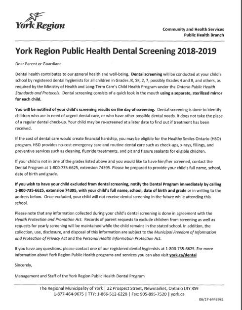 dental screening letter