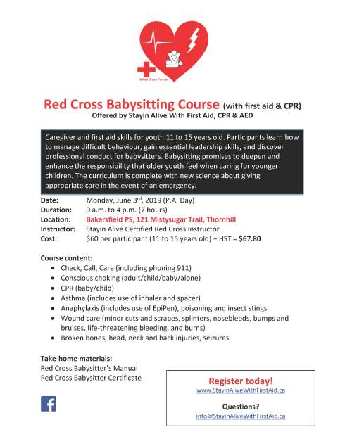 Bakersfield PS Red Cross Babysitting Course Flyer June3