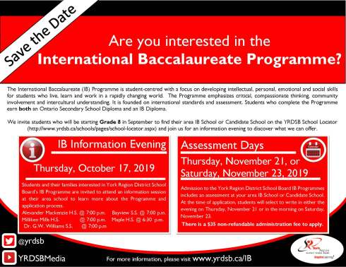 IB Save the Date - 2019-2020 School Year
