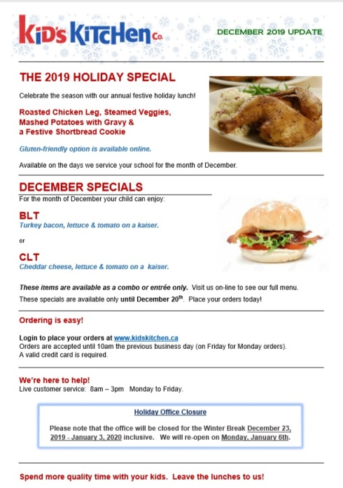Kids Kitchen December Specials