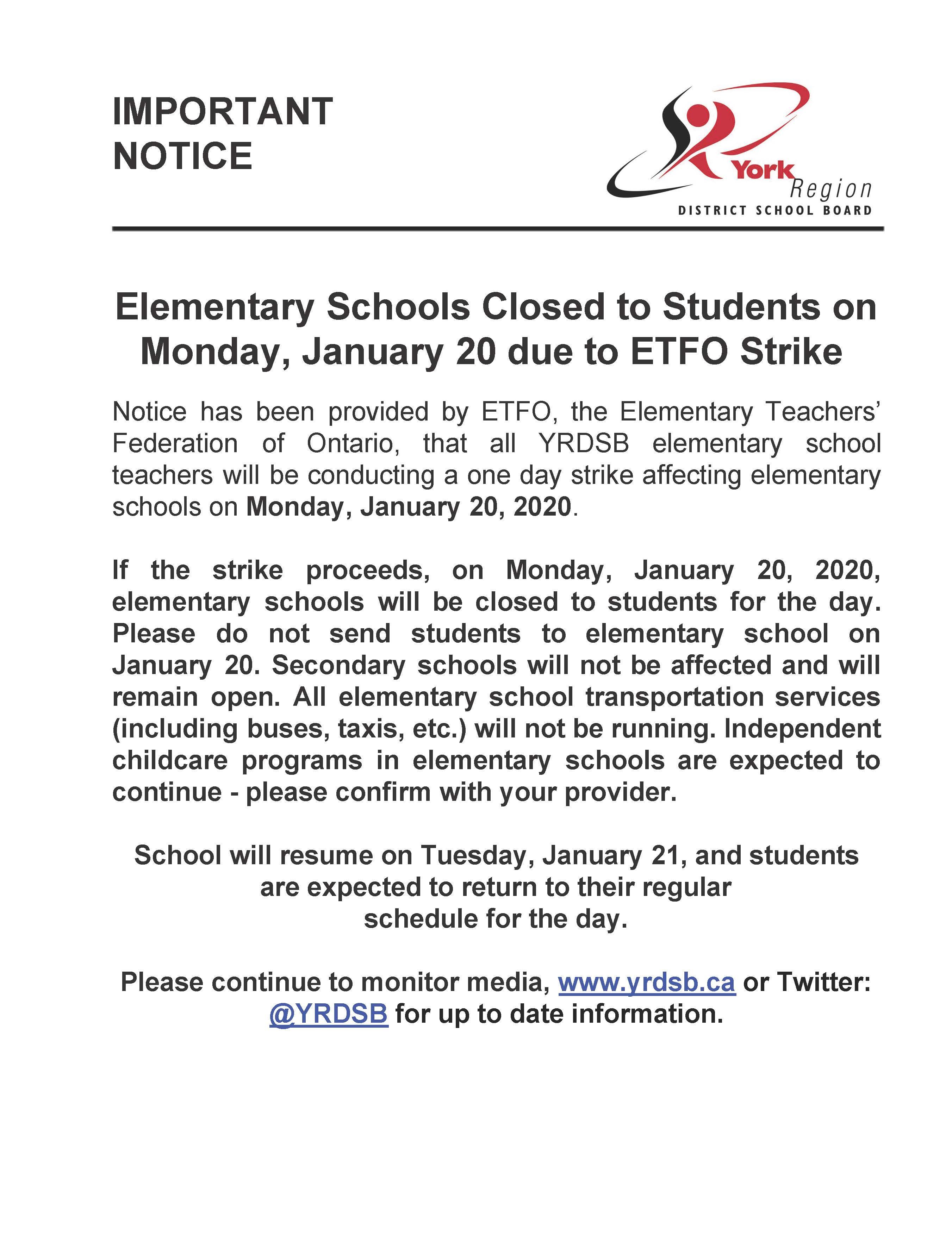 ETFO Strike- Schools closed Monday, Jan 20