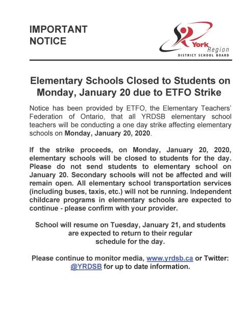 ETFO Strike- Schools closed Monday, Jan 20